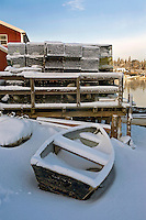 Blue Skiff & Lobster Traps in Snow  #S33