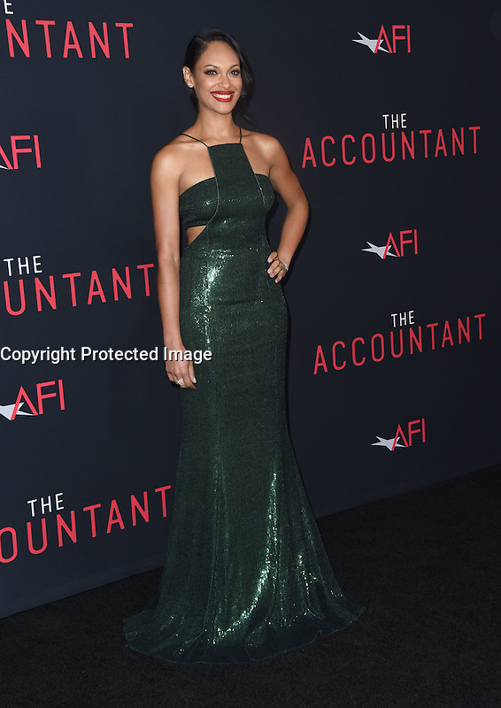 Cynthia Addai-Robinson @ the premiere of 'The Accountant' held @ the Chinese theatre in Hollywood, USA, October 10, 2016. # 'THE ACCOUNTANT' PREMIERE IN HOLLYWOOD