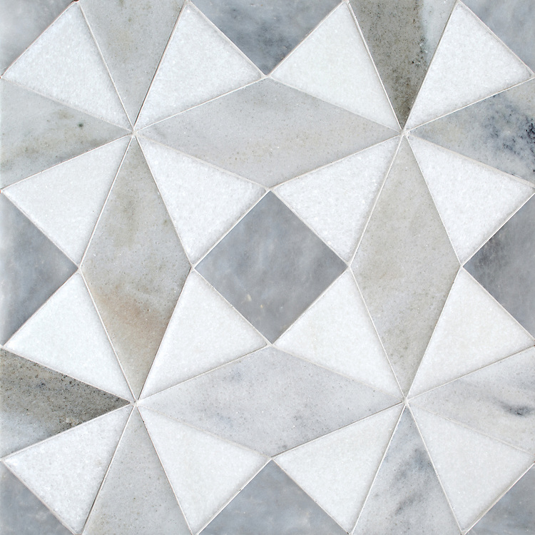 Esmeralda Grand, a stone hand-cut mosaic, shown in venetian honed Allure, Snow White, and Cashmere, is part of the Semplice® collection for New Ravenna.
