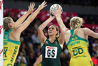 15.09.2018 South Africa's Lenize Potgieter in action during the Australia v South Africa netball test match at Spark Arena in Auckland. Mandatory Photo Credit ©Michael Bradley.