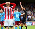Chris Basham of Sheffield Utd is sent off during the English League One match at Glanford Park Stadium, Scunthorpe. Picture date: September 24th, 2016. Pic Simon Bellis/Sportimage