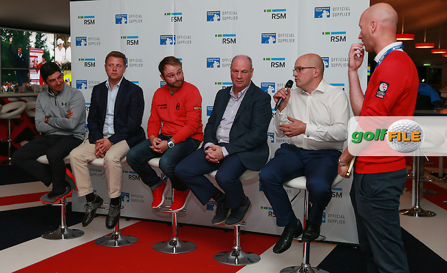 Andy Sullivan (ENG) and Felipe Aguilar (CHI) represent the players during the RSM Player Proficiency Study Media Presentation at the The British Masters 2016, at The Grove, Hertfordshire, England. 13View of the 10th2016. Picture: David Lloyd | Golffile.