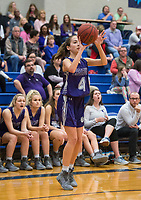 NWA Democrat-Gazette/BEN GOFF @NWABENGOFF<br /> Audra Unruh of Fayetteville makes a three point basket against Rogers Friday, Feb. 9, 2018, in King Arena at Rogers High.