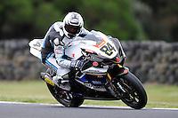 PHILLIP ISLAND, 22 FEBRUARY - Michel Fabrizio (ITA) riding the Suzuki GSX-R1000 (84) of the Team Suzuki Alstare at day two of the testing session prior to round one of the 2011 FIM Superbike World Championship at Phillip Island, Australia. (Photo Sydney Low / syd-low.com)