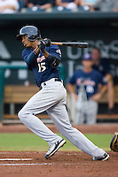 Shortstop Alcides Escobar (15) of the Huntsville Stars follows through on his swing at the Baseball Grounds in Jacksonville, FL, Wednesday June 11, 2008.
