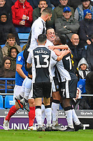 Tom Eaves of Gillingham middle is mobbed by team mates after scoring the first goal during Portsmouth vs Gillingham, Sky Bet EFL League 1 Football at Fratton Park on 6th October 2018