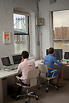 BROOKLYN -- APRIL 22, 2011: Creighton Mershon (L) and Jessi Arrington (R) at work in their workspace on April 22, 2011 in Dumbo, Brooklyn.   (PHOTOGRAPH BY MICHAEL NAGLE)