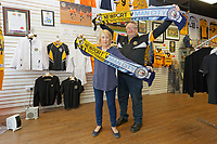 Pictured: (L-R) Club shop staff Susan Herring and Jeff Challingsworth in Newport, Wales, UK. Thursday 14 February 209<br /> Re: The city of Newport is preparing to host the FA Cup match between Newport County and Manchester City at Rodney Parade, Newport, Wales, UK.