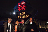 Unveiling ceremony of Omega Olympic Games countdown clock. (from left) London Mayor Boris Johnson, Heptathlete Jessica Ennis, chairman of the London Organising Committee for the Olympic Games Lord Sebastian Coe and Omega President Stephen Urquart.