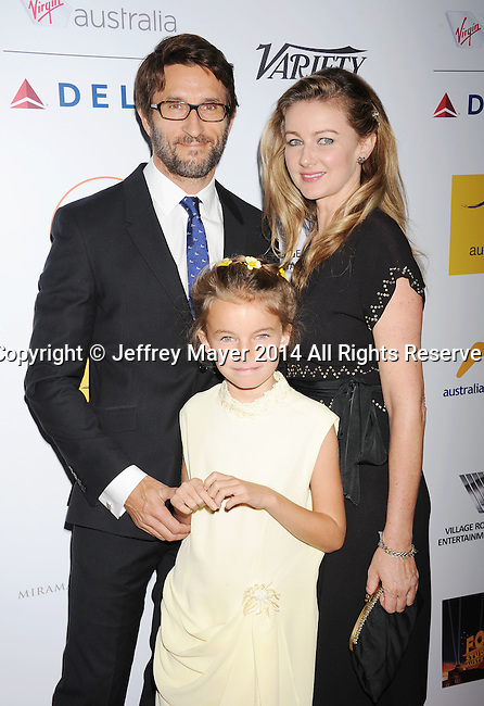SANTA MONICA, CA- OCTOBER 26: Actor Jonathan LaPaglia (L) and family attend the 3rd Annual Australians in Film Awards Benefit Gala at the Fairmont Miramar Hotel on October 26, 2014 in Santa Monica, California.