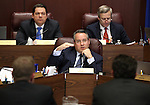 Nevada Senate Republicans, from left, Michael Roberson, Mark Lipparelli and Greg Brower listen to testimony on Gov. Brian Sandoval's business license fee proposal during a hearing at the Legislative Building in Carson City, Nev., on Thursday, March 19, 2015. State tax officials continue to answer lawmaker's questions on the proposal. <br /> Photo by Cathleen Allison