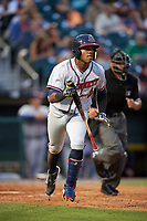 Gwinnett Braves left fielder Ronald Acuna (24) jogs to first base during a game against the Buffalo Bisons on August 19, 2017 at Coca-Cola Field in Buffalo, New York.  Gwinnett defeated Buffalo 1-0.  (Mike Janes/Four Seam Images)