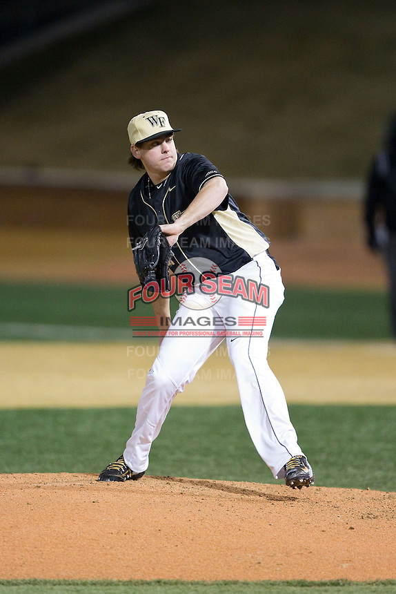Wake Forest Demon Deacons relief pitcher Will Craig (22) in action against the Delaware Blue Hens at Wake Forest Baseball Park on February 13, 2015 in Winston-Salem, North Carolina.  The Demon Deacons defeated the Blue Hens 3-2.  (Brian Westerholt/Four Seam Images)