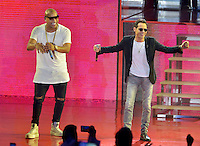 MIAMI, FL - OCTOBER 29: Marc Anthony (R) and Alexander Delgado of Gente de Zona, performs at the Jennifer Lopez Gets Loud for Hillary Clinton at GOTV Concert in Miami at Bayfront Park Amphitheatre on October 29, 2016 in Miami, Florida. Credit: MPI10 / MediaPunch
