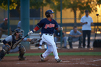 AZL Indians Red Cesar Idrogo (17) at bat in front of catcher Chandler Seagle (11) during an Arizona League game against the AZL Padres 1 on June 23, 2019 at the Cleveland Indians Training Complex in Goodyear, Arizona. AZL Indians Red defeated the AZL Padres 1 3-2. (Zachary Lucy/Four Seam Images)
