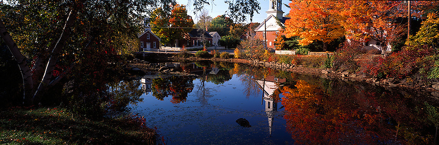 An autumn day at the historic mill village of Harrisville, New Hampshire. Photograph by Peter E, Randall