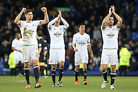 Frederico Fernandez, Ki Sung-Yueng and Jack Cork celebrate victory as they applaud the fans at the final whistle of  the Barclays Premier League match between Everton and Swansea City played at Goodison Park, Liverpool