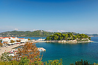 The old port in the Chora of Skiathos island, Greece