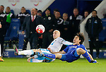 Shinji Okazaki of Leicester City competes with Jonjo Shelvey of Newcastle during the Barclays Premier League match at The King Power Stadium.  Photo credit should read: Malcolm Couzens/Sportimage