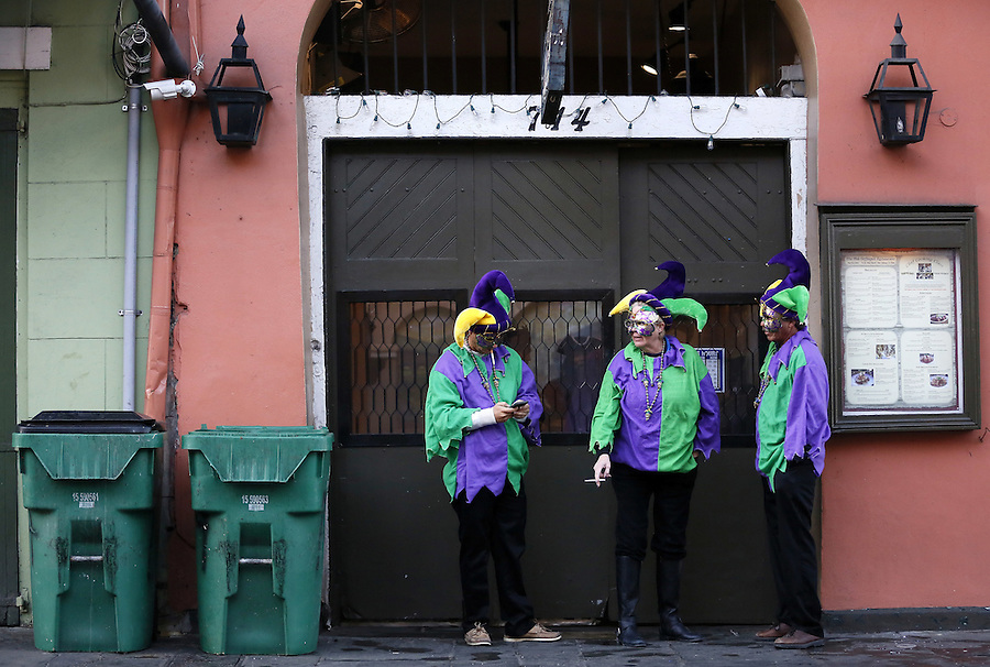 NEW ORLEANS, LOUISIANA - FEBRUARY 9, 2016:  Revelers makes their way through the French Quarter during Mardi Gras day on February 9, 2016 in New Orleans, Louisiana. Fat Tuesday, or Mardi Gras in French, is a celebration traditionally held before the observance of Ash Wednesday and the beginning of the Christian Lenten season. (Photo by Jonathan Bachman/Getty Images)
