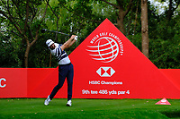 Dustin Johnson (USA) on the 9th tee during the 1st round at the WGC HSBC Champions 2018, Sheshan Golf Club, Shanghai, China. 25/10/2018.<br />