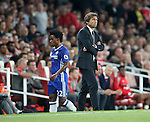 Chelsea's Antonio Conte looks on as Willian gets substituted during the Premier League match at the Emirates Stadium, London. Picture date September 24th, 2016 Pic David Klein/Sportimage