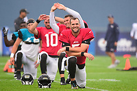 August 8, 2017: Jacksonville Jaguars quarterback Blake Bortles (5) warms up at the New England Patriots training camp held at Gillette Stadium, in Foxborough, Massachusetts.  The Patriots are hosting the Jaguars at camp leading up to their preseason game. Eric Canha/CSM