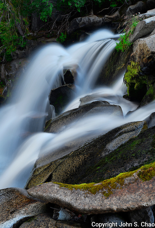 Close-up of cascades along the Paradise River in Mount Rainier National Park, Washington State