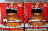 Budweiser beer bottle boxes are seen on display in a convenient store in Quebec City February 26, 2009