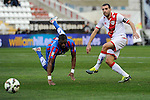 Rayo Vallecano´s Roberto Trashorras and Levante UD´s Papakouli Diop during 2014-15 La Liga match between Rayo Vallecano and Levante UD at Vallecas stadium in Madrid, Spain. February 28, 2015. (ALTERPHOTOS/Luis Fernandez)