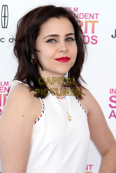 Mae Whitman.2013 Film Independent Spirit Awards - Arrivals Held At Santa Monica Beach, Santa Monica, California, USA,.23rd February 2013..indy indie indies indys headshot portrait white sleeveless  black white trim pink lipstick .CAP/ADM/RE.©Russ Elliot/AdMedia/Capital Pictures