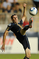 Sebastien Le Toux (9) of the Philadelphia Union. The Columbus Crew defeated the Philadelphia Union 2-1 during a Major League Soccer (MLS) match at PPL Park in Chester, PA, on August 05, 2010.