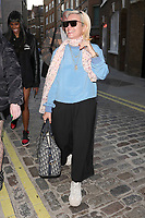 English singer-songwriter Lily Allen is pictured leaving the Planet Aries store in Covent Garden, London.<br />