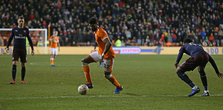 Blackpool's Michael Nottingham and Arsenal's Zech Medley<br /> <br /> Photographer Stephen White/CameraSport<br /> <br /> Emirates FA Cup Third Round - Blackpool v Arsenal - Saturday 5th January 2019 - Bloomfield Road - Blackpool<br />  <br /> World Copyright © 2019 CameraSport. All rights reserved. 43 Linden Ave. Countesthorpe. Leicester. England. LE8 5PG - Tel: +44 (0) 116 277 4147 - admin@camerasport.com - www.camerasport.com