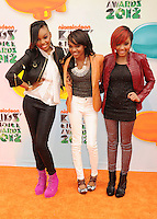 LOS ANGELES, CA - MARCH 31: Sierra Aylina McClain, China Anne McClain and Lauryn Alisa McClain arrive at the 2012 Nickelodeon Kids' Choice Awards at Galen Center on March 31, 2012 in Los Angeles, California.