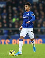 26th December 2019; Goodison Park, Liverpool, Merseyside, England; English Premier League Football, Everton versus Burnley; Mason Holgate of Everton brings the ball over the halfway line - Strictly Editorial Use Only. No use with unauthorized audio, video, data, fixture lists, club/league logos or 'live' services. Online in-match use limited to 120 images, no video emulation. No use in betting, games or single club/league/player publications