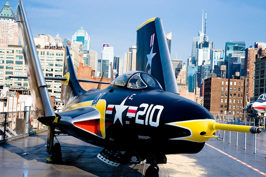 NEW YORK CITY, NY – JULY 9: A fighter jet on the flight deck of the USS Intrepid (CV/CVA/CVS-11) on July 9, 2011 in Manhattan, New York City. As of 1982, the Intrepid has been the foundation of the Intrepid Sea Air Space Museum in New York City.