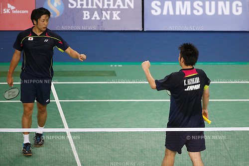 (L to R) Hiroyuki Endo, Kenichi Hayakawa (JPN), <br /> SEPTEMBER 21, 2014 - Badminton : <br /> Men's Team Round 2 <br /> at Gyeyang Gymnasium <br /> during the 2014 Incheon Asian Games in Incheon, South Korea. <br /> (Photo by AFLO SPORT) [1180]