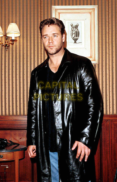 RUSSELL CROWE..Ref: IJ(CD)..stubble, leather jacket, half length, half-length, facial hair..www.capitalpictures.com..sales@capitalpictures.com..©Capital Pictures..