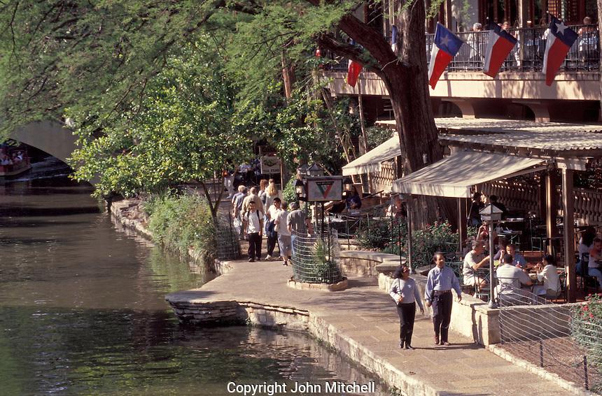 People strolling on the River Walk or Paseo del Rio in San Antonio, Texas