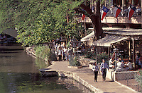 People strolling on the River Walk or Paseo del Rio in San Antonio, Texas