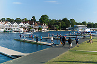 """Henley on Thames, United Kingdom, 3rd July 2018, Tuesday, View, """"Crews and Athletes"""", prepared, for the first, training session of the day, in preparation for Wednesday's, first day of the annual,  """"Henley Royal Regatta"""", Henley Reach, River Thames, Thames Valley, England, © Peter SPURRIER,"""
