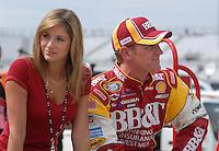 May 4, 2007; Richmond, VA, USA; Nascar Busch Series driver Clint Bowyer (2) with girlfriend Athena Barber during qualifying for the Circuit City 250 at Richmond International Raceway. Mandatory Credit: Mark J. Rebilas