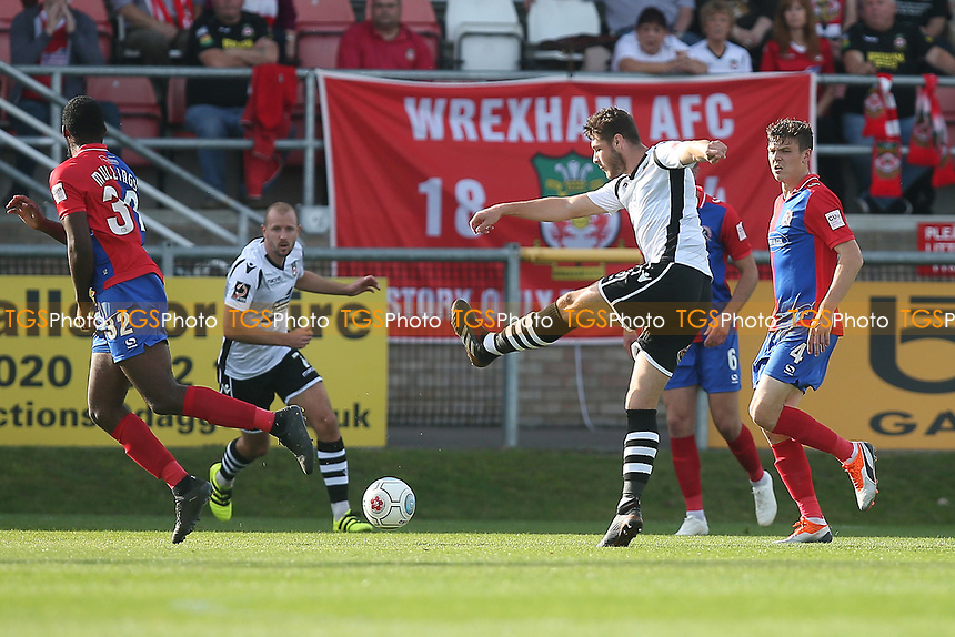 Brad Walker of Wrexham goes close during Dagenham & Redbridge vs Wrexham, Vanarama National League Football at the Chigwell Construction Stadium on 13th October 2018