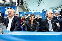 Barelli, Serracchiani, Malago'<br /> FINA Men's Water Polo Olympic Games Qualifications Tournament 2016<br /> quarter final<br /> Romania ROU (White) Vs Italy ITA (Blue)<br /> Trieste, Italy - Swimming Pool Bruno Bianchi<br /> Day 06  08-04-2016<br /> Photo G.Scala/Insidefoto/Deepbluemedia