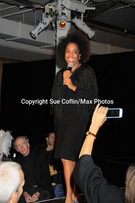 "Another World's Rhonda Ross (event co-host) sings ""Come To The Cabaret"" at Hearts of Gold's 16th Annual Fall Fundraising Gala & Fashion Show ""Come to the Cabaret"", a benefit gala for Hearts of Gold on November 16, 2012 at the Metropolitan Pavilion, New York City, New York.   (Photo by Sue Coflin/Max Photos)"