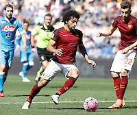 Calcio, Serie A: Roma vs Napoli. Roma, stadio Olimpico, 25 aprile 2016.<br /> Roma&rsquo;s Mohamed Salah, center, in action during the Italian Serie A football match between Roma and Napoli at Rome's Olympic stadium, 25 April 2016. <br /> UPDATE IMAGES PRESS/Isabella Bonotto