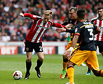 Mark Duffy of Sheffield Utd in action with Charlie Wyke of Bradford City during the English League One match at Bramall Lane Stadium, Sheffield. Picture date: April 17th 2017. Pic credit should read: Simon Bellis/Sportimage
