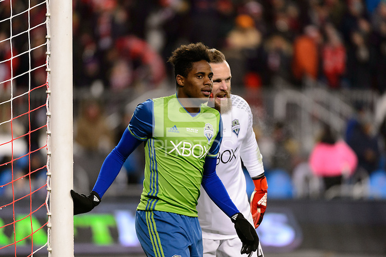 Toronto, ON, Canada - Saturday Dec. 10, 2016: Tyrone Mears, Stefan Frei during the MLS Cup finals at BMO Field. The Seattle Sounders FC defeated Toronto FC on penalty kicks after playing a scoreless game.