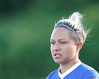 Boston Breakers forward Kyah Simon (17). In a National Women's Soccer League (NWSL) match, Boston Breakers (blue) defeated Portland Thorns FC (white/black), 2-1, at Dilboy Stadium on August 7, 2013.